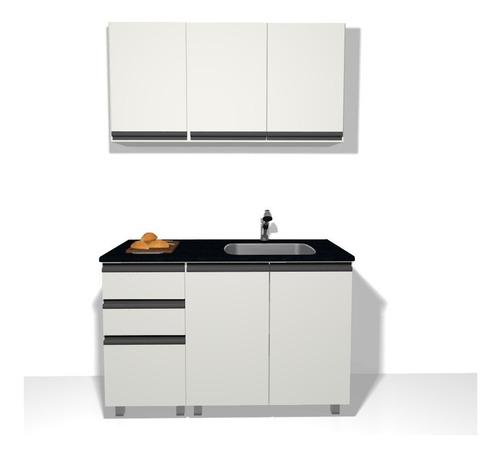 mueble cocina alacena y bajo de 120 blanco perfil j aluminio