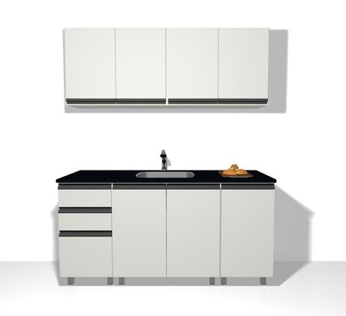 mueble cocina alacena y bajo de 160 blanco perfil j aluminio