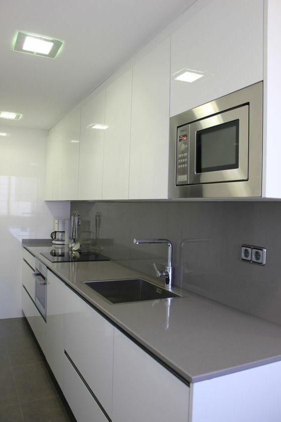 Mueble Cocina Alto Brillo Blanco Filos Aluminio