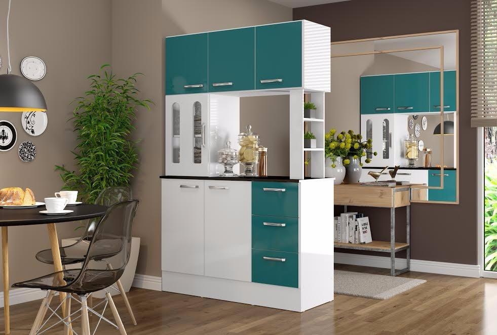 Mueble cocina americana antonia verde ikean for Separacion de muebles cocina comedor