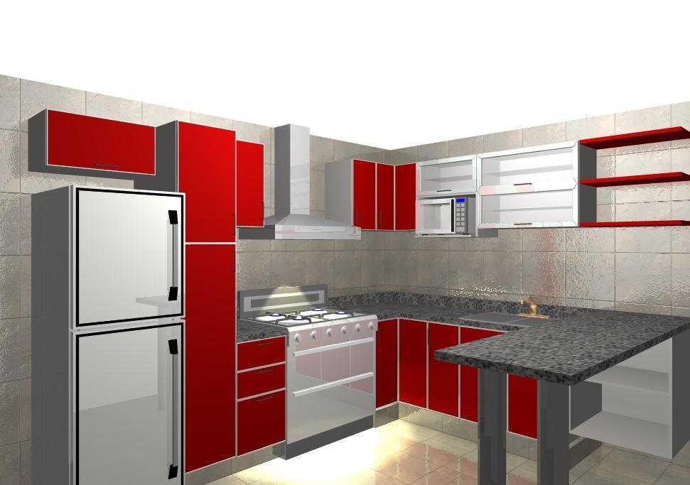 Mueble De Cocina Practico Y Moderno 2,40mts Amoblamientos Fl ...