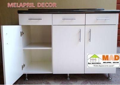 Mueble Cocina Bajo Melamina 120 Cm Tablero Postformado S