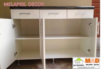 Mueble cocina bajo melamina 120 cm tablero postformado s for Muebles de cocina 25 cm