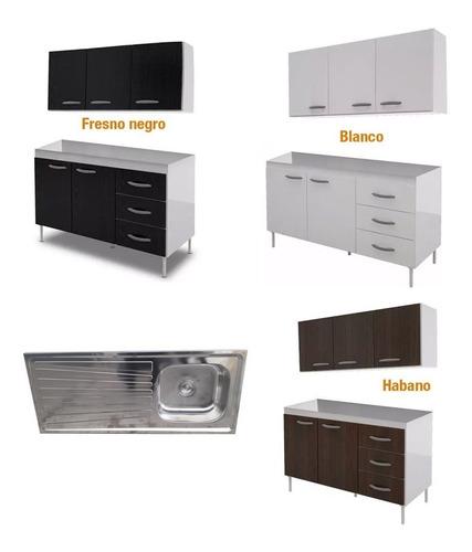 mueble cocina completo bajo mesada alacena bacha acero envio