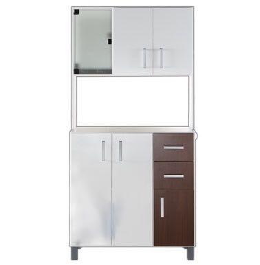 Mueble Cocina Kit 90 Ancho X 1,80 Alto Blanco Y Cedro - $ 7.316,00 ...