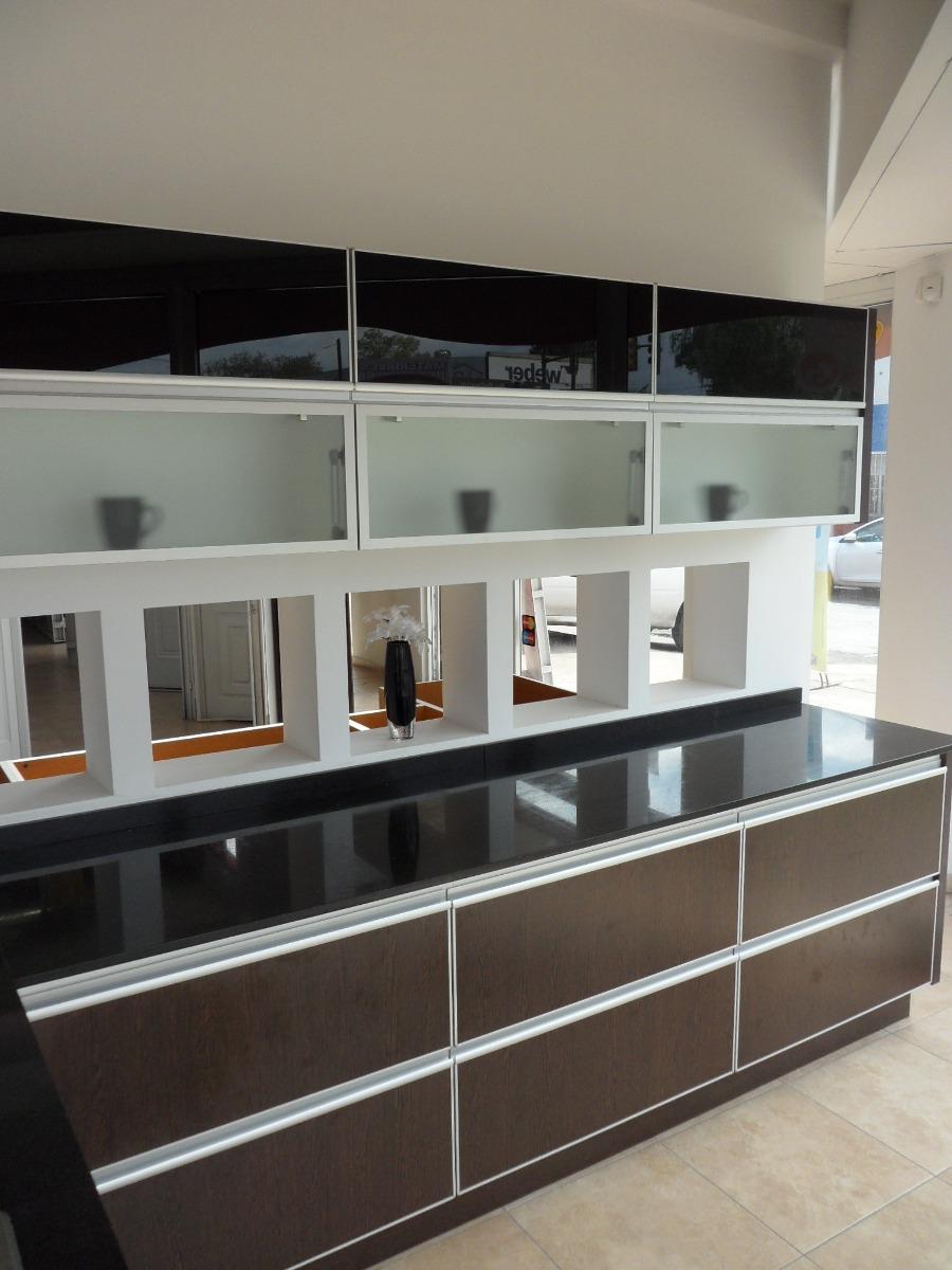 Mueble Cocina L Mesada Aluminio Piel Vidrio Amoblamientos Fl ...