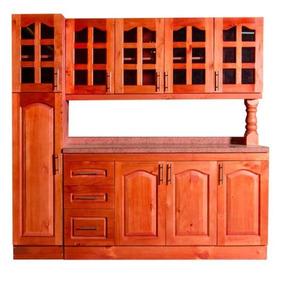 Mueble Cocina Madera Vidriado 4 Puertas Despensa Rio Tolten