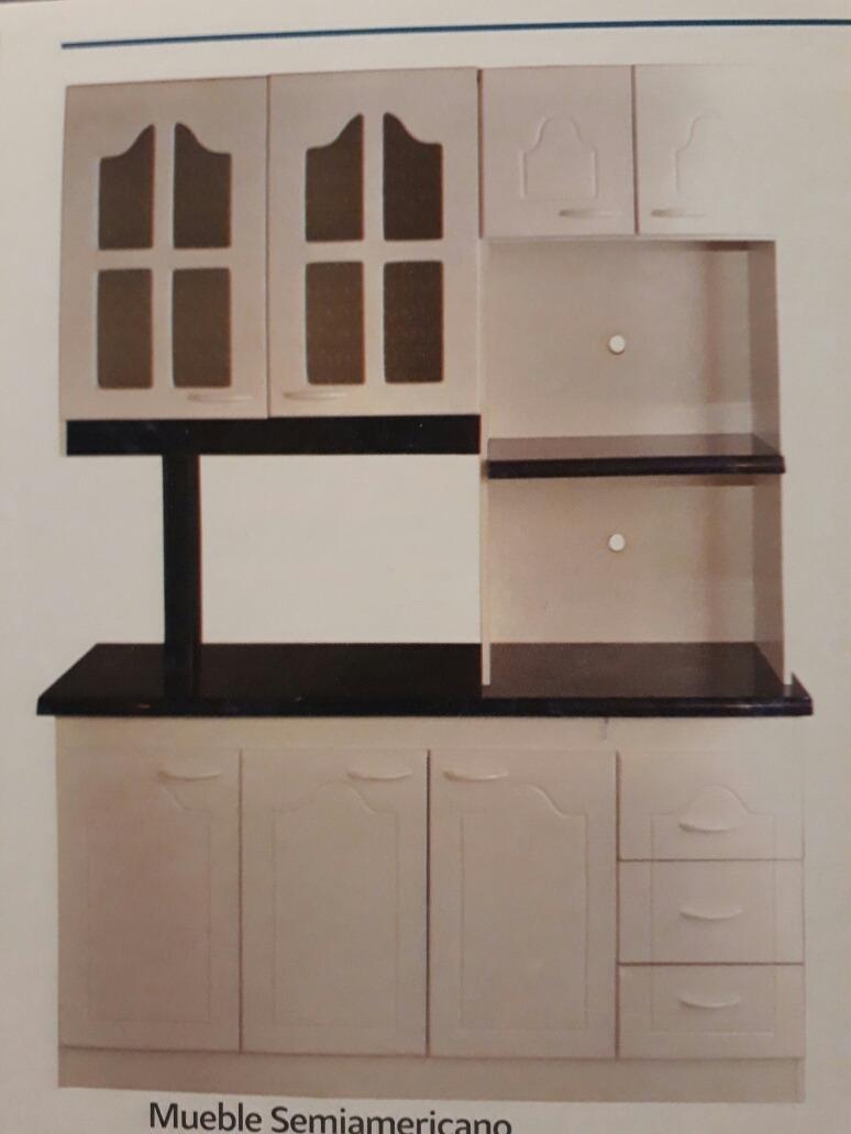 Mueble Cocina Semi-americano,cuatro Cuerpos,melamina Blanca ...