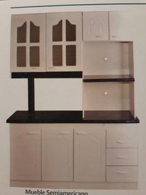 Mueble Cocina Semi-americano,cuatro Cuerpos,melamina Blanca.