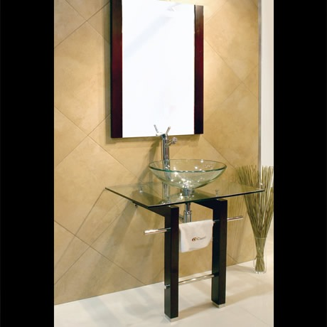 Mueble con lavabo y espejo de cristal modelo vigo for Mueble con espejo