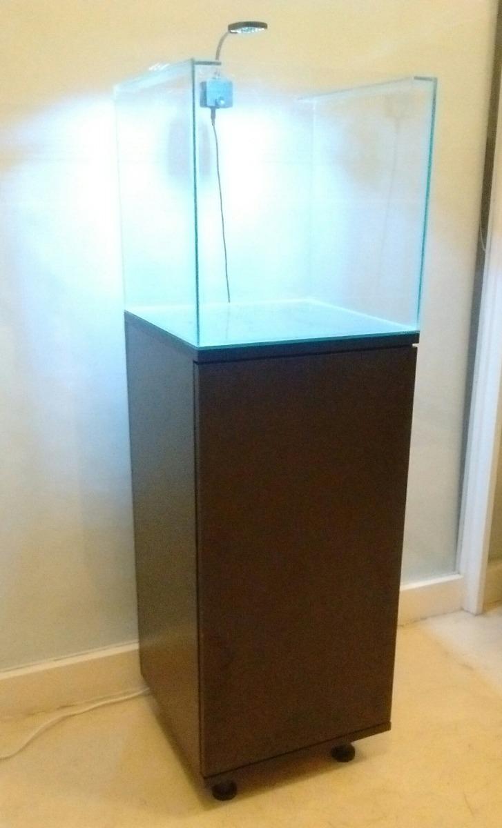 Mueble Con Pecera Cubo De 40x 64 Lts E Iluminador Led Rs  # Muebles Nazca Y Nogoya