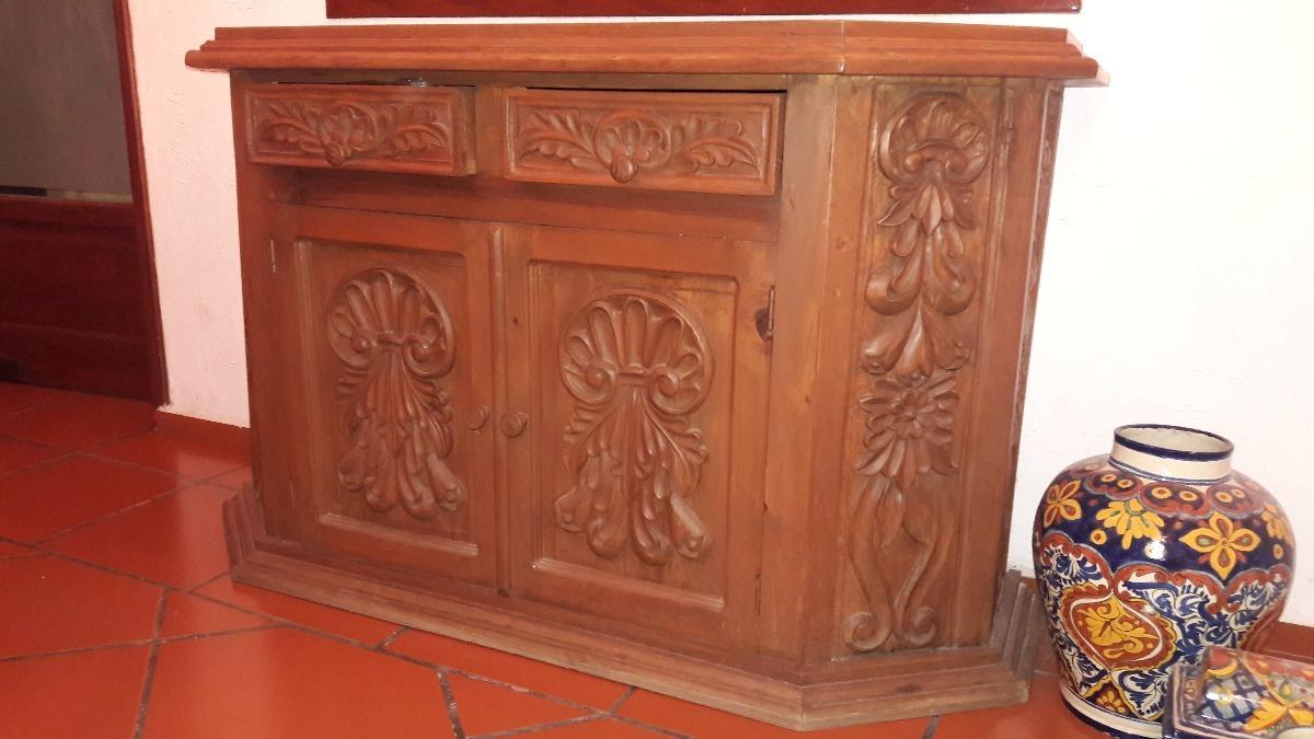 Credenza Con Cantina : Mueble credenza de madera labrada cantina barra trinchero
