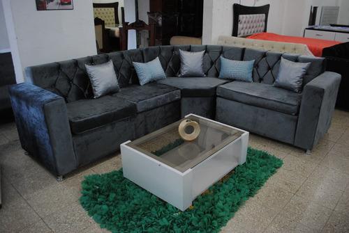 mueble curvo terciopelo capitoneado