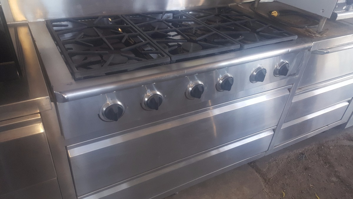 Mueble de acero inox 10fts estufa 6 quemadores y horno Mueble para horno
