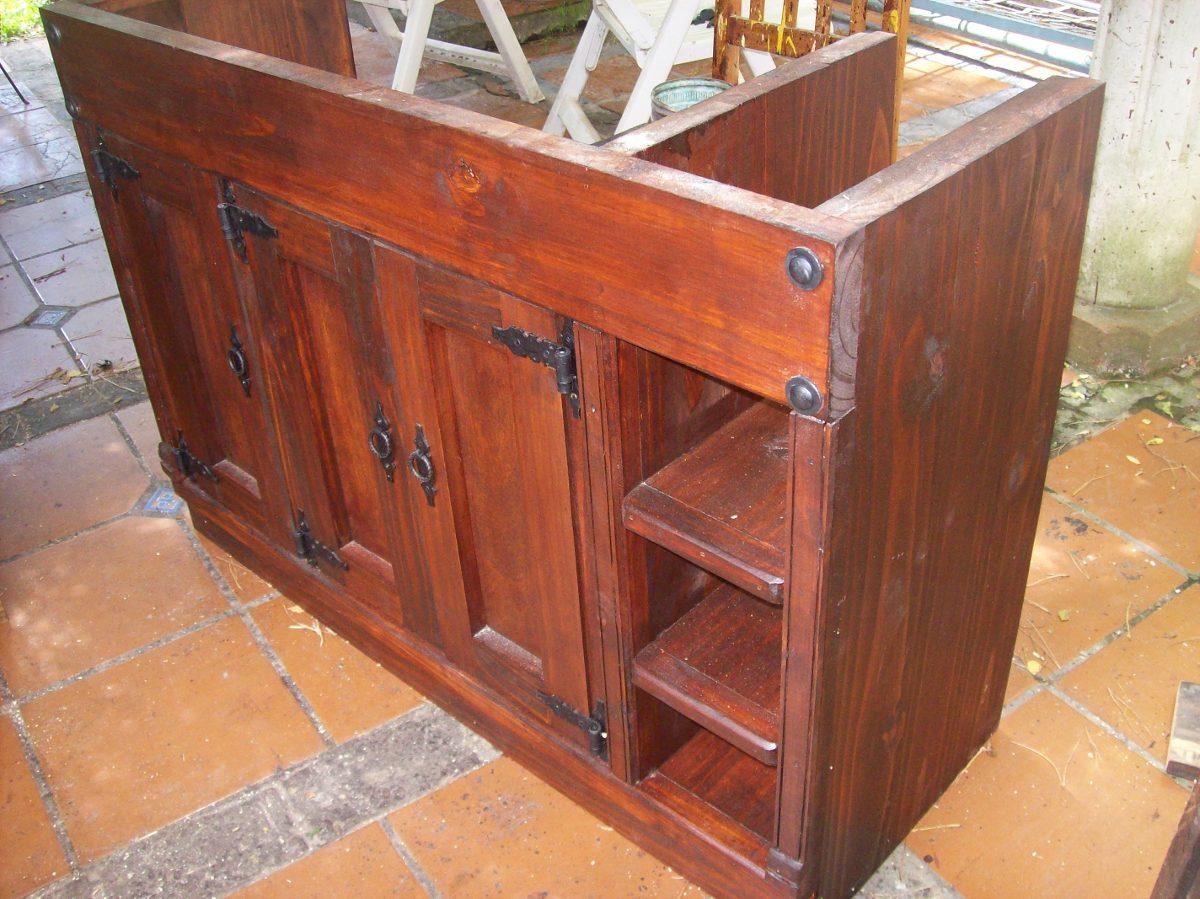 Mueble de ba o 100 madera maciza puerta y estantes 6 - Muebles bano madera maciza ...