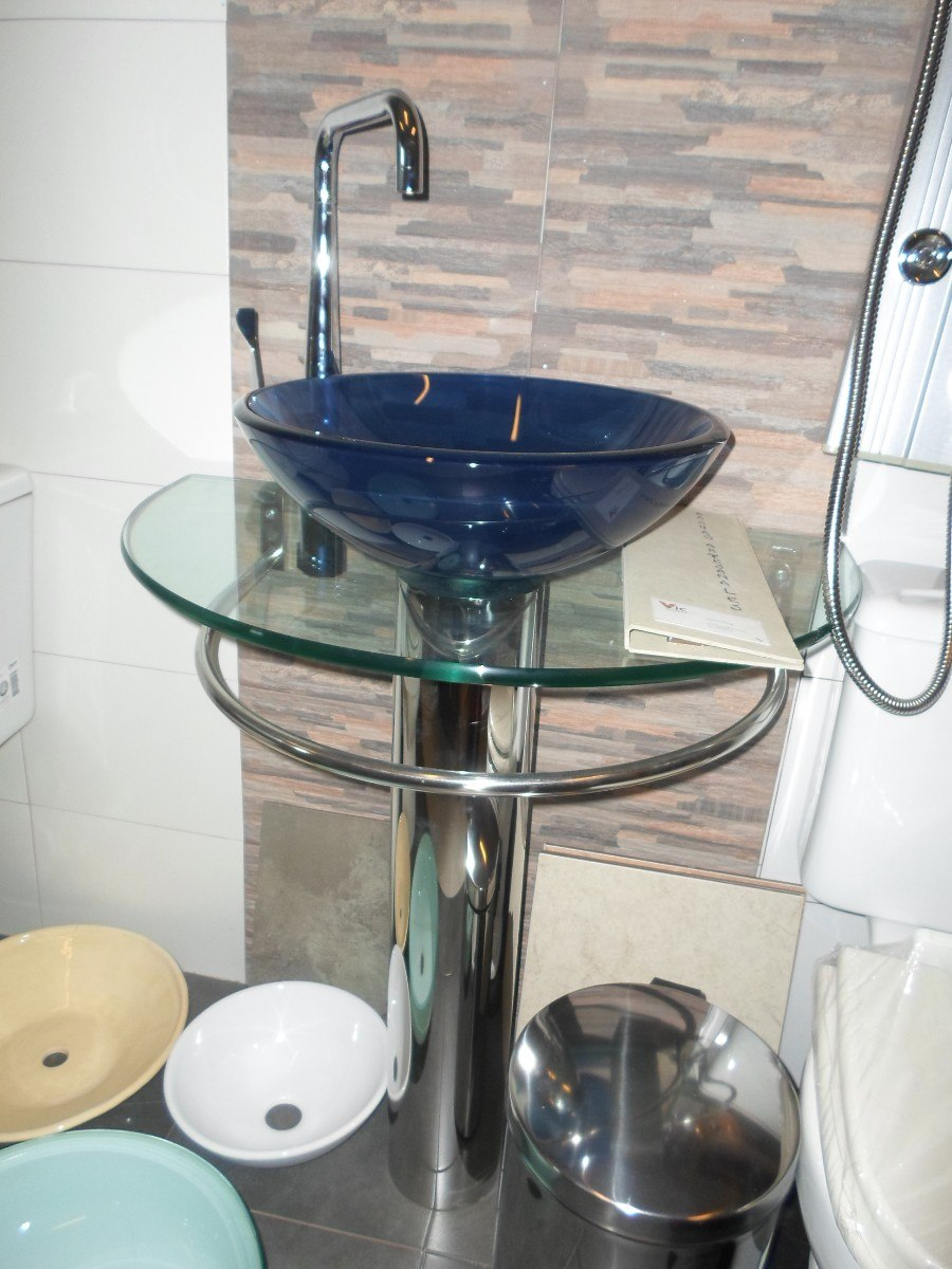 Mueble de ba o con bacha transparente vidrio pileta u s for Piletas para bano