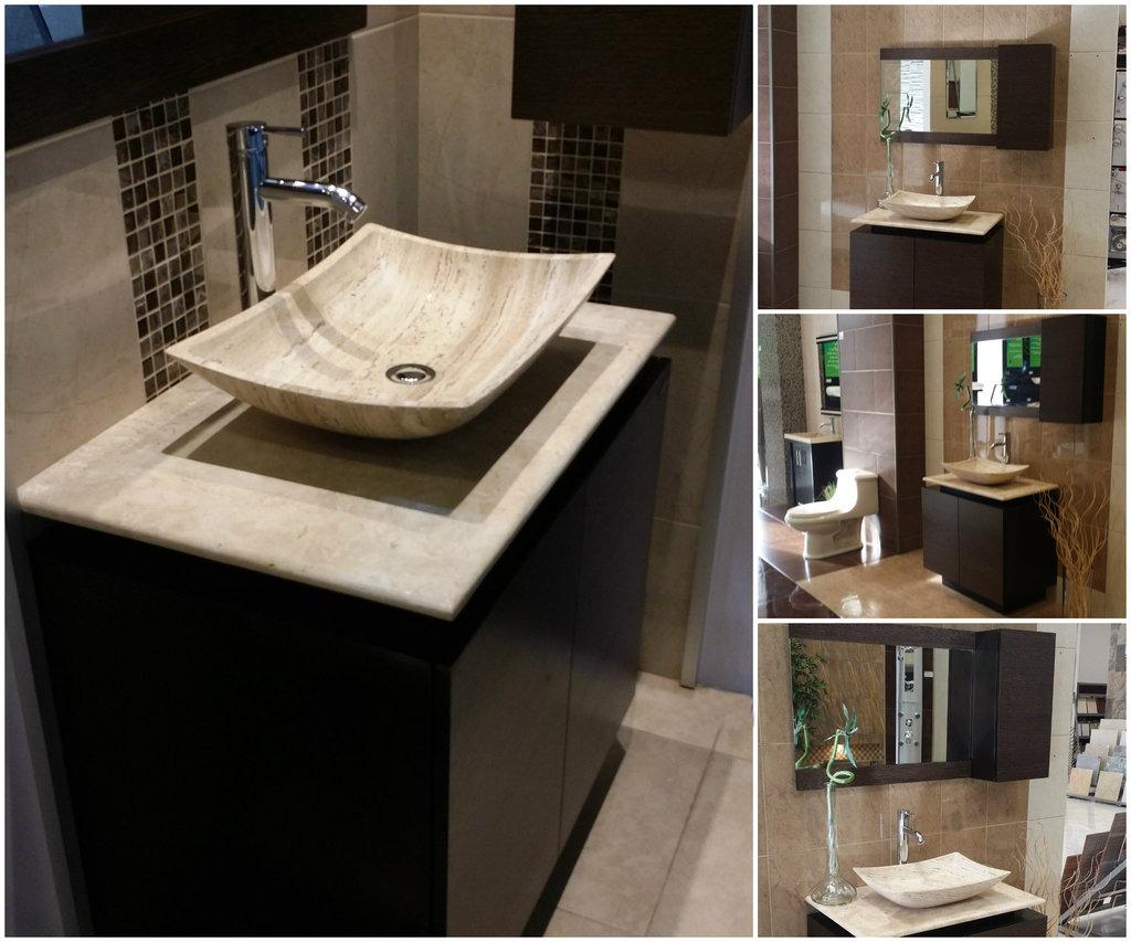 Mueble de ba o con lavabo de marmol y espejo mdf bety - Lavabos de marmol para bano ...
