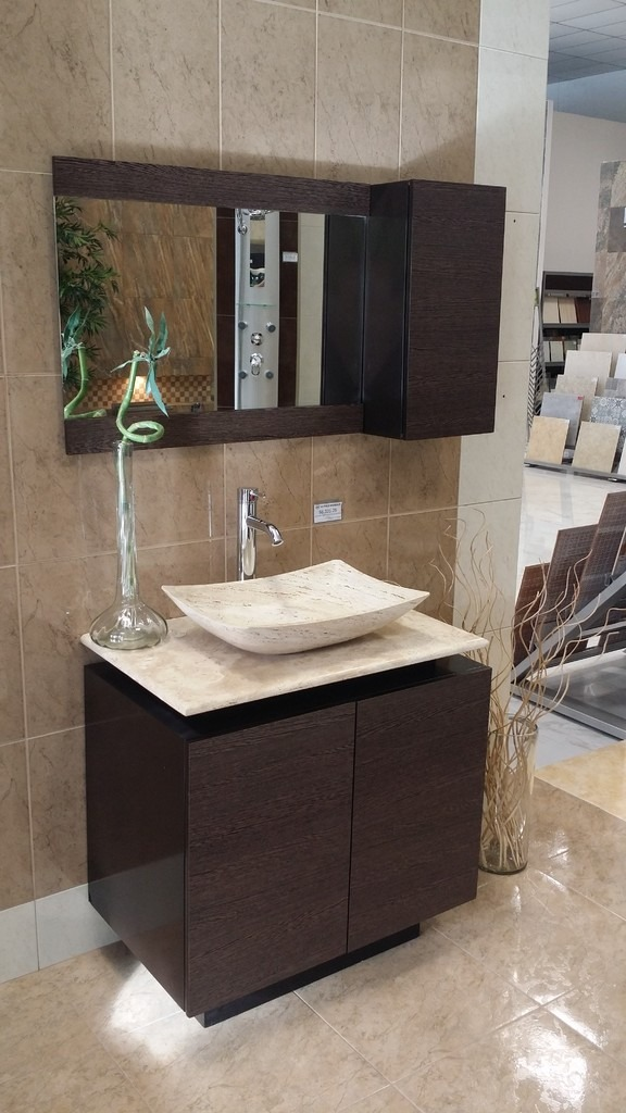 Mueble de ba o con lavabo de marmol y espejo mdf bety - Puertas para muebles de bano ...