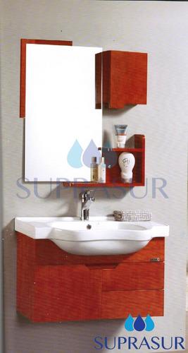 mueble de baño con mesada de losa y botiquín
