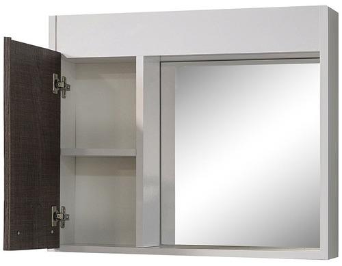 mueble de baño con pileta y botiquín aéreo con espejo