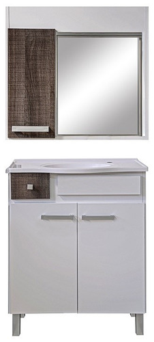 mueble de baño con pileta y botiquin aereo con espejo punion