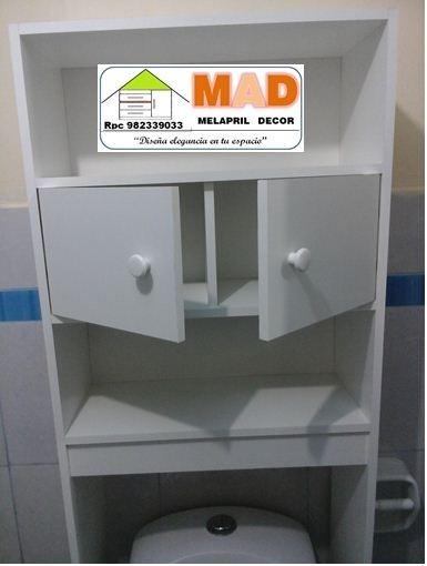 Mueble de ba o estante repisa inodoro melamine bl s 229 00 en mercado libre - Estanteria sobre inodoro ...