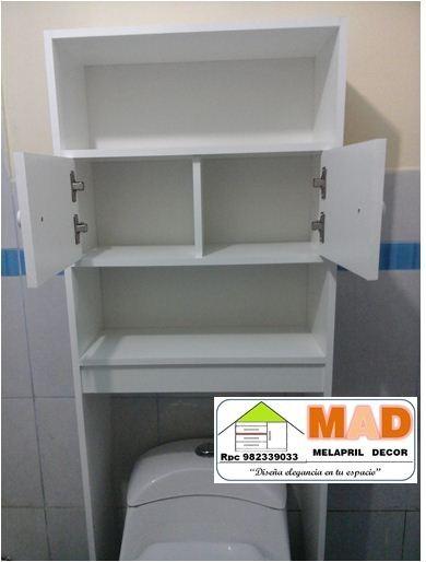 Mueble de ba o estante repisa inodoro melamine bl s 229 for Repisas para bano rimax