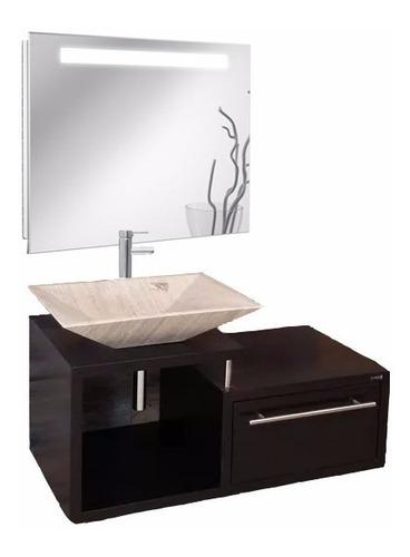 mueble de baño lavabo marmol espejo con luz led monomando g1