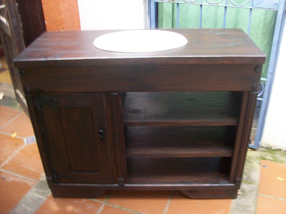 Mueble de ba o mesada madera maciza en for Muebles de bano de madera maciza natural