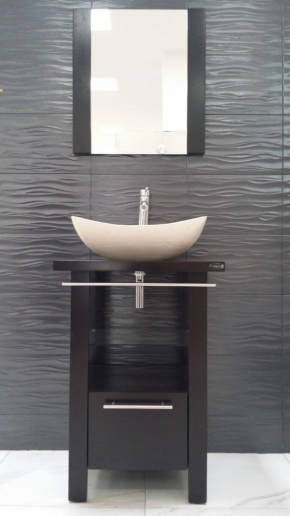 Mueble de ba o minimalista lavabo con marmol y espejo for Ikea muebles de bano con lavabo