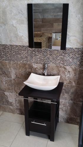Mueble de ba o minimalista lavabo con marmol y espejo ivonne 5 en mercado libre - Lavabos pequenos con mueble ...