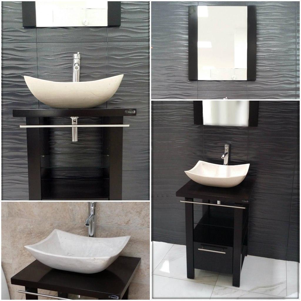 Mueble de ba o minimalista lavabo con marmol y espejo for Muebles de bano con estilo