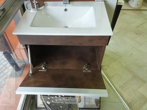 Mueble de ba o suspendido madera simil piedra o cuero u for Muebles para bano uruguay
