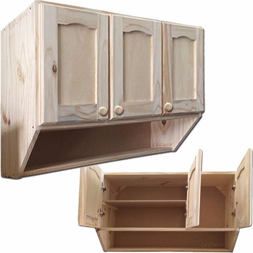 Mueble de cocina aereo 3 puertas alacena madera lcm for Mueble aereo cocina uruguay