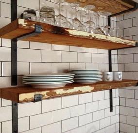 Mueble De Cocina Aereo Industrial Hierro Y Madera Pallets