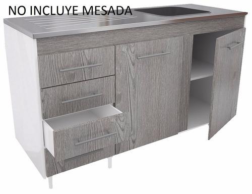 mueble de cocina bajo mesada 1.40 color larice 471 orlandi
