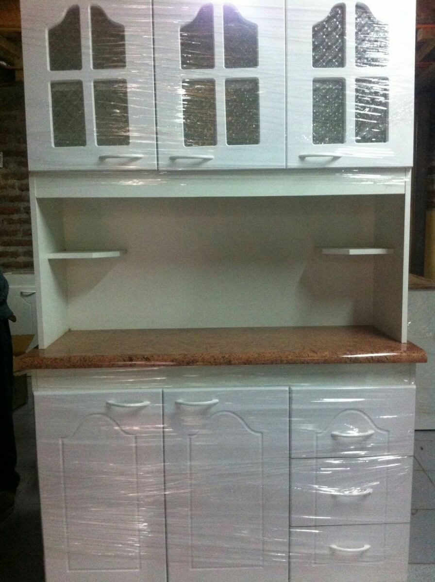 Mueble de cocina compacto 3 cuerpos blanco con vidrio for Muebles de cocina con puertas de cristal