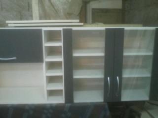 Mueble De Cocina Con Puerts De Vidrio Botellero En 2 Colores ...