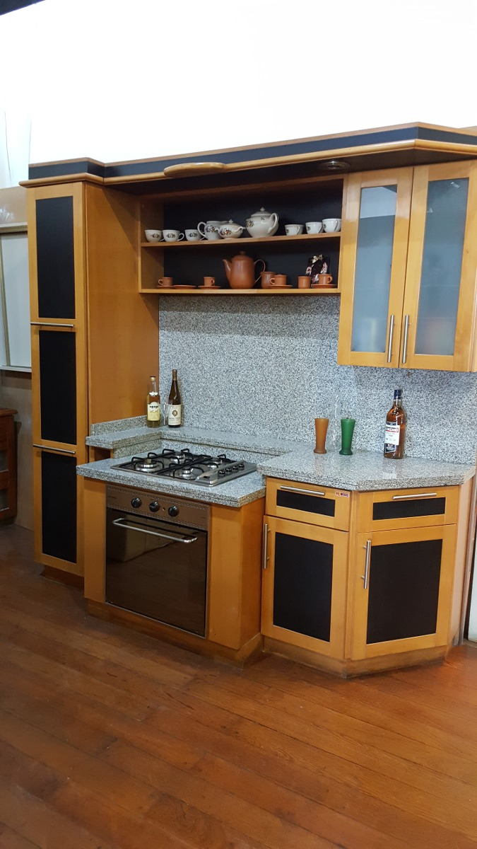 Mueble De Cocina Haya Con Melamina Negra Con Mesada Incluida  # Muebles Cocina Die Kuche