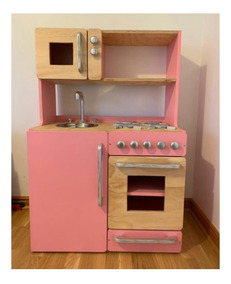 Mueble De Cocina Juguete, Natural-color Con Puerta