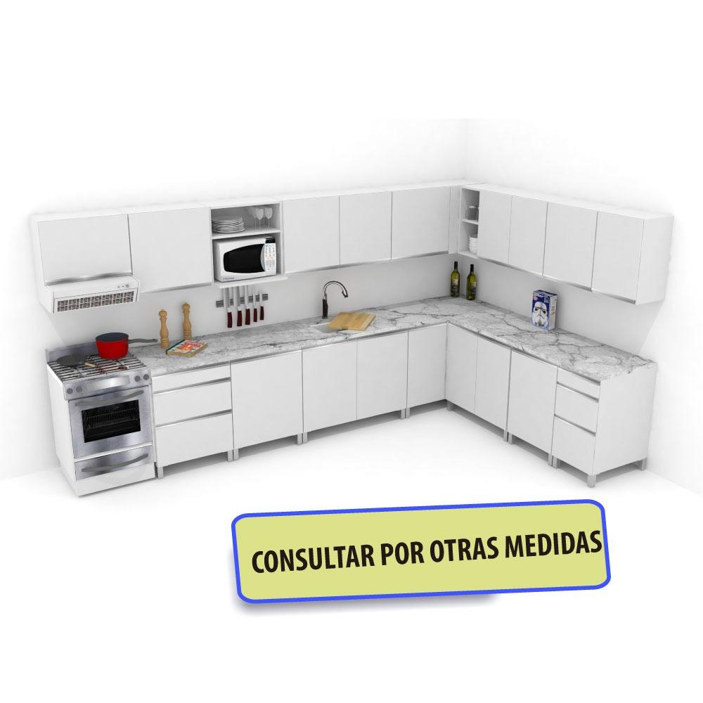 Mueble De Cocina L Melamina 18mm Blanco Manija J Aluminio - $ 41.588 ...