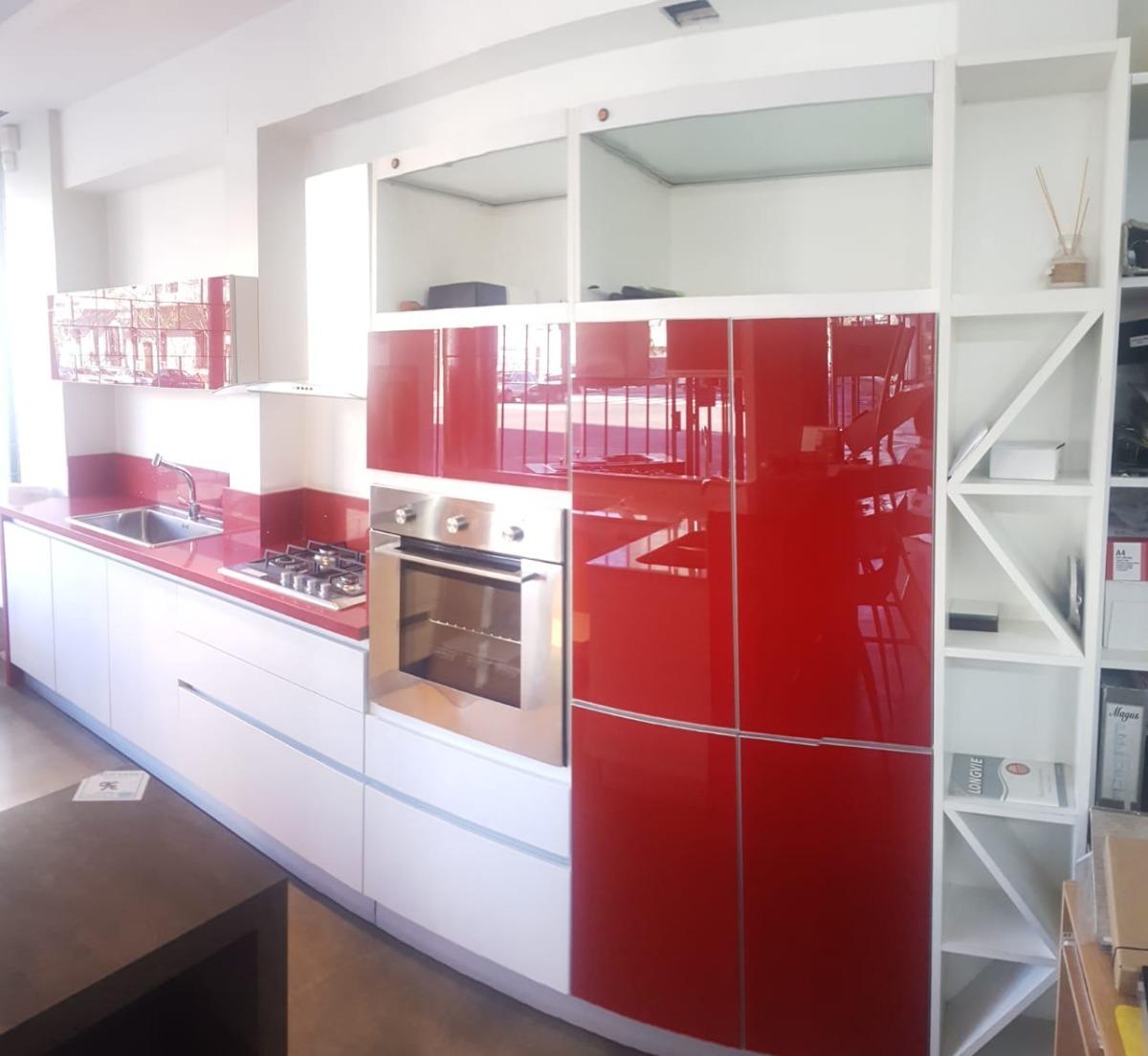 Mueble De Cocina Pvc Con Vidrios Coverglass Rojo