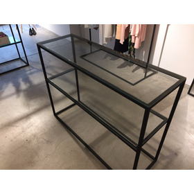 Mueble De Hierro Y Vidrio Con Estante Mostrador