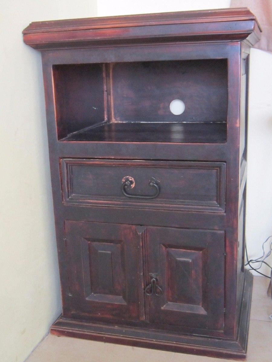 Mueble de madera rustico para tv en mercado libre for Muebles para tv en madera