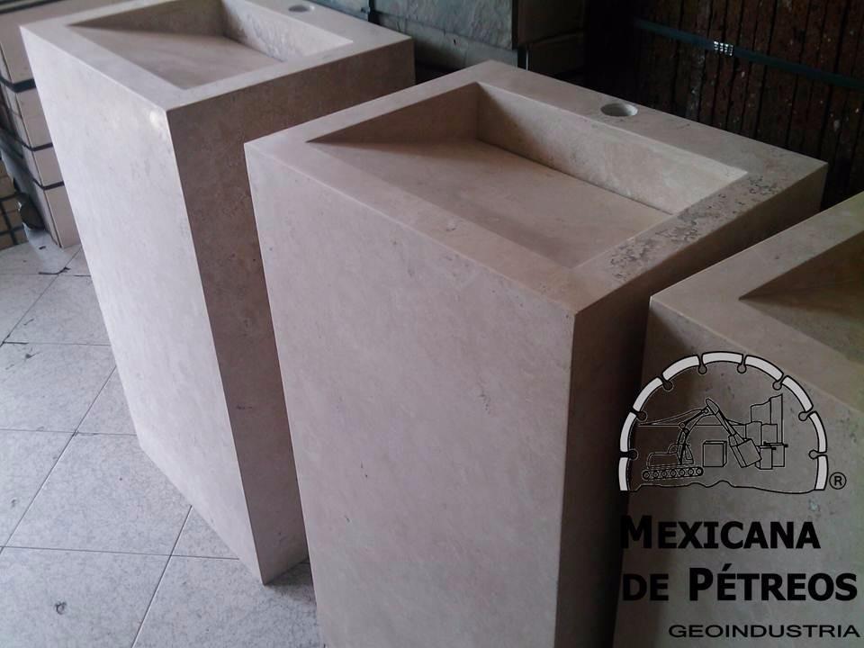 Mueble de m rmol beige para ba o con lavabo minimalista - Muebles para lavabo con pedestal ...