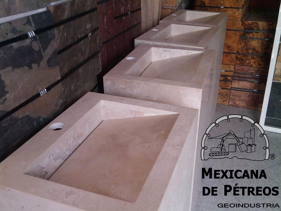 Mueble de m rmol beige para ba o con lavabo minimalista for Lavabos de marmol y granito