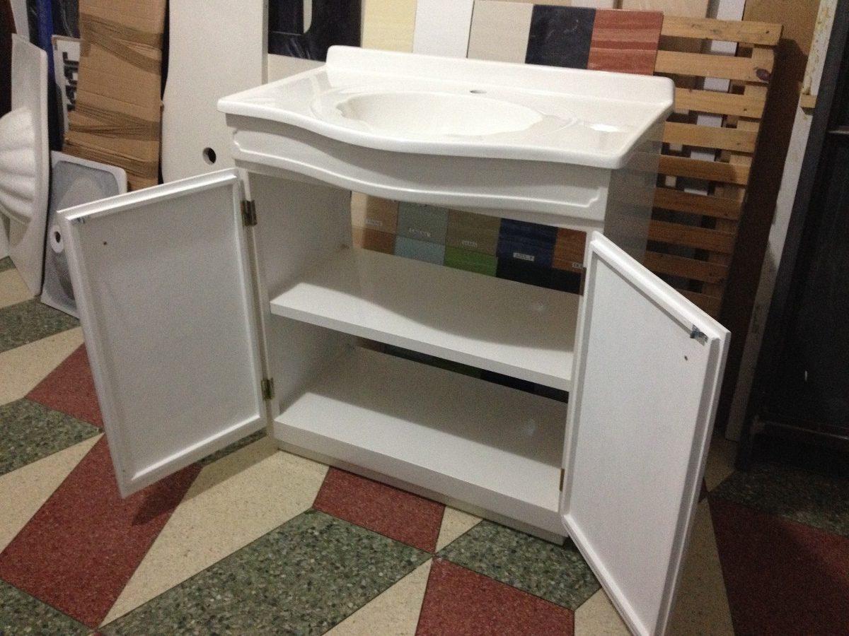 Mueble de marmolina para ba o color blanco con lavatorio for Muebles de bano blancos