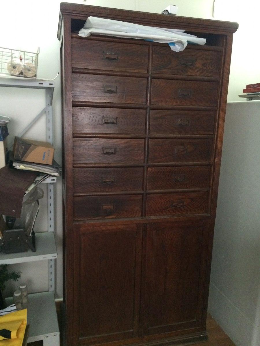 Mueble De Oficina Fichero Antiguo De Roble Con Persiana 90 000  # Muebles Ficheros