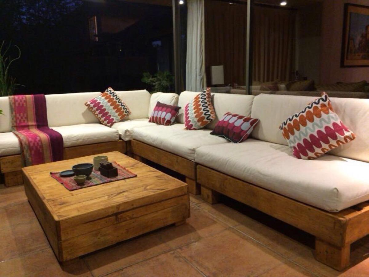 Mueble de palet pallets terraza l en mercado libre for Muebles palets terraza