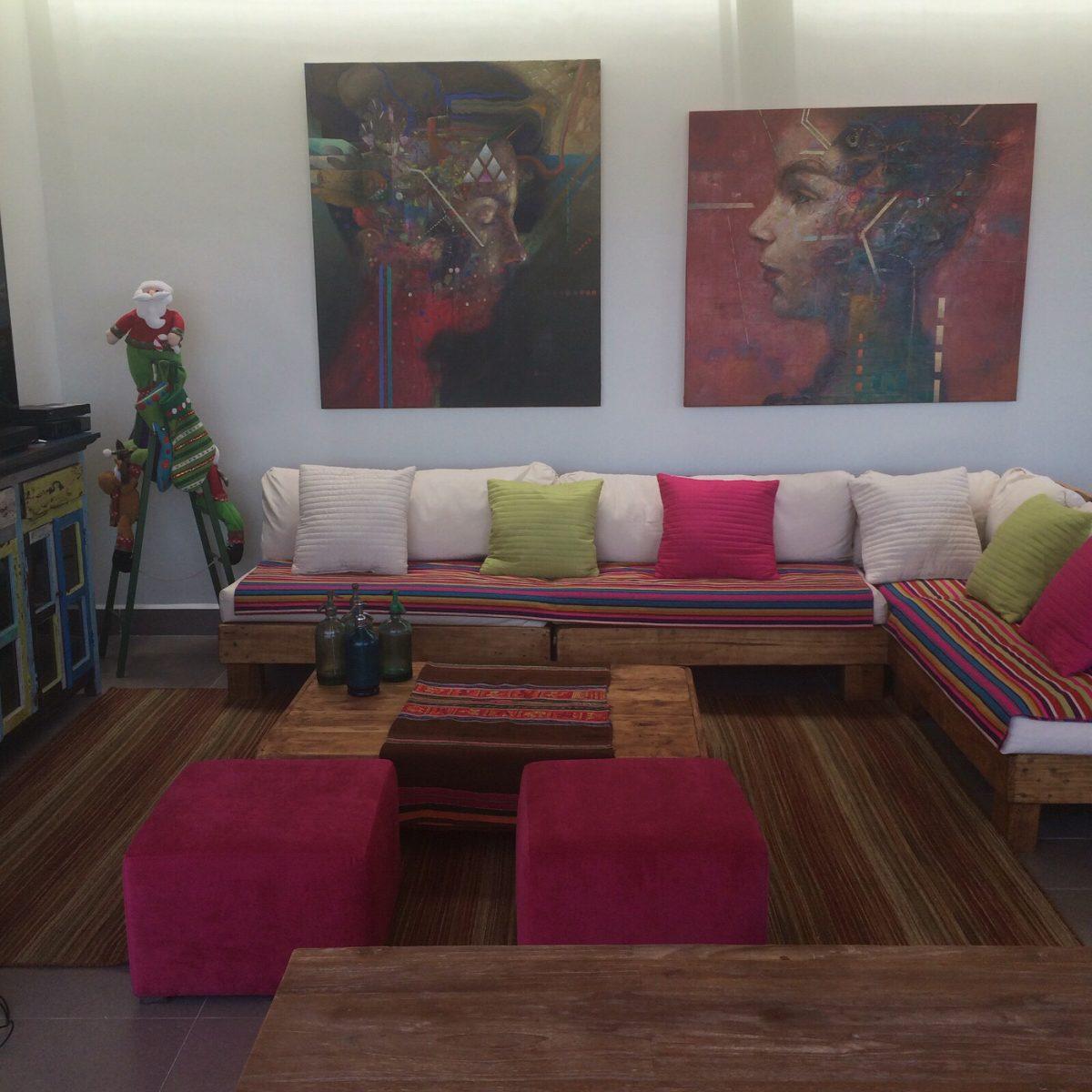 Mueble de palet pallets terraza l en mercado libre for Muebles usados santiago